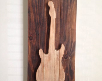Electric Guitar - Rustic Wood Wall Decor on Reclaimed Wood