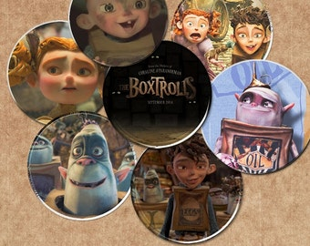 """30"""" The Boxtrolls - INSTANT DOWNLOADS -1inch Circles x 30 - Digital Collage Sheet -  1"""" Bottle Cap Images, Magnets"""