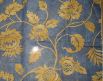 Designer Fabric - Arte Alzarine Sheer, Discontinued Sample, Floral Design, 3 Shades, Gold + Blue, Gold + Bluish White, Pale Gold + White