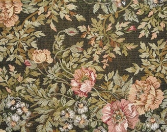 Vintage Fabric - Upholstery Fabric - Rose Pattern - Previously Used - Small Projects - 3 Pieces - 1960s