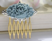 SALE Duck Egg Blue Floral Filigree Vintage Inspired Hair Comb, Vintage Romantic Handmade Hair Piece