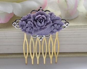 SALE Purple Floral Filigree Vintage Inspired Hair Comb, Vintage Romantic Handmade Hair Piece
