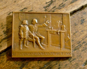 Signed Bronze Medal Jean Jacques Rousseau for the second Centennaire 1912
