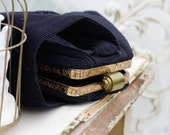 GENUINE 40s Corde Wristlet. Black, Embroidery. // Flapper Bag. Antique Purse.- Cocktail evening bag. Tapered, Triangle.