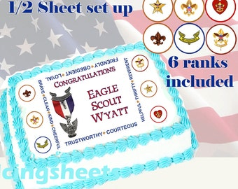 Eagle Scout Boy Scout ranks Edible icing custom cake  transfer decal  decorations frosting top 1/2 sheet set up