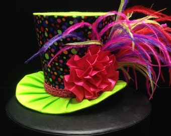 Rainbow Polka Dot Mini Top Hat for Dress Up, Birthday, Tea Party or Photo Prop