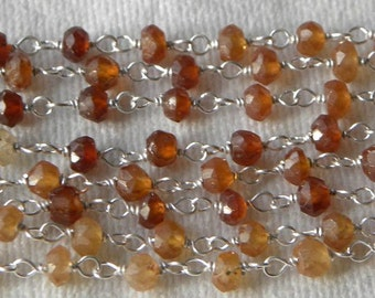 Hessonite Garnet Rosary Chain Gemstone Beads 1 1/2 Ft Sterling Silver Wire Chain 3.5-4mm Faceted Semiprecious Take 10% Off Jewelry Supply