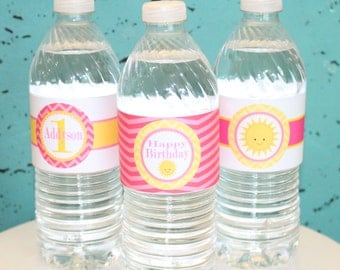 You Are My SUNSHINE Birthday or Baby Shower  Water Bottle Labels Set of 12 {One Dozen}