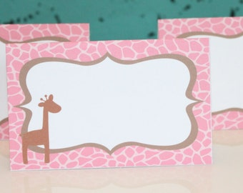 LITTLE GIRAFFE Happy Birthday or Baby Shower Buffet Cards Table Tents Food Labels {Set of 8}