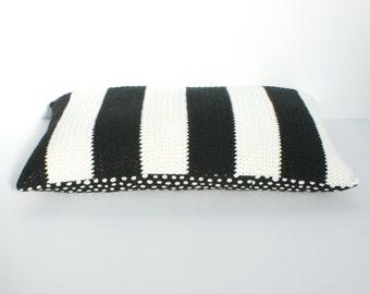 Striped black and cream crochet cushion/pillow