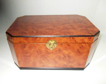 Vintage Burlwood Jewelry Box Large
