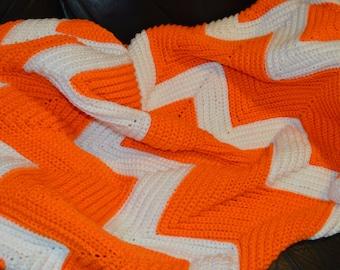 Large Crocheted Ripple Afghan in Orange & Cream