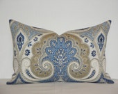 RESERVED - BOTH SIDES - Kravet - Decorative Lumbar Pillow Cover ~ Blue ~ Brown ~ Beige ~ Accent Pillow ~ Paisley Ikat