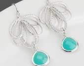 Aqua Blue Earrings - Bridesmaid Jewelry - Silver and Glass Earrings - Bridesmaid Earrings - Bridal Wedding Jewelry - Sterling Silver Earwire