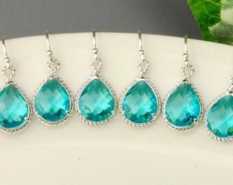 10% OFF SET OF 5 Wedding Jewelry - Sea Green Earrings - Teal Blue Green Crystal Drop Bridesmaid Earrings - Bridesmaid Gift - Wedding