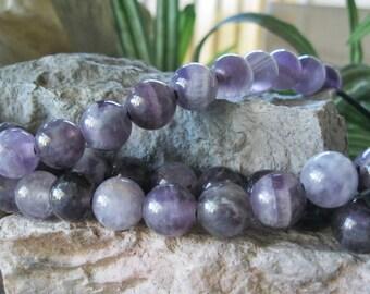 Large Hole Bead 12mm Amethyst Big 2.5mm Hole Round Purple Gemstone Fit Leather 8 Beads