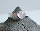 Personalized Rose Cut Rainbow Moonstone Sterling Silver Ring