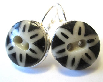 Antique button earrings, 1800s china stencil buttons, floral design, silver leverbacks