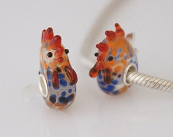 1 Bead - Chicken Rooster Farm Animal Sterling Silver Core .925 Lampwork European Bead Charm GJ2121 LC0025