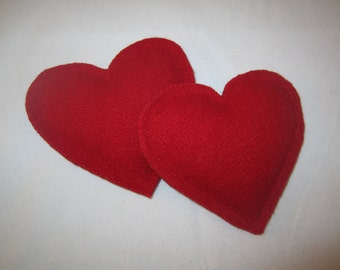 Set of 2 red wool pocket hand warmers heart shaped  RTS inexpensive exhange gift