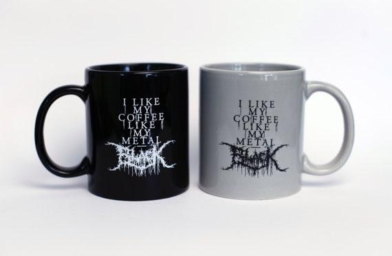 Black Metal Coffee Mug Set - Black & Grey