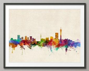 Johannesburg Skyline, Johannesburg South Africa Cityscape Art Print (353)