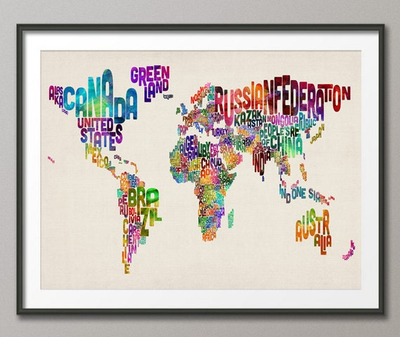Typographic Text Map of the World Map, Art Print (889)