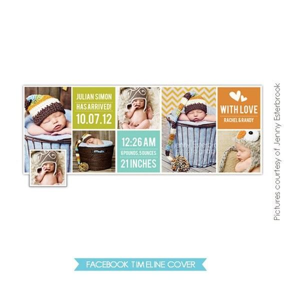 INSTANT DOWNLOAD - Birth Announcement FB Timeline Cover - E371
