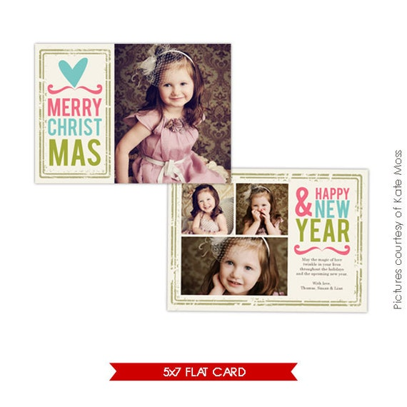 INSTANT DOWNLOAD -  Holiday Card Photoshop Template - Heart Greetings - E153