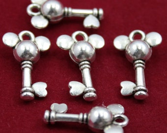 8 Mickey Mouse Charms Antique Silver Tone  ts1157