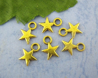 Star Charms Bulk 80 Charms Antique Gold Tone 11 x 9 mm - cc094