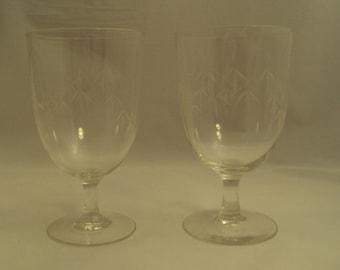 Pair Vintage Noritake Crystal Bamboo Pattern Water Goblets
