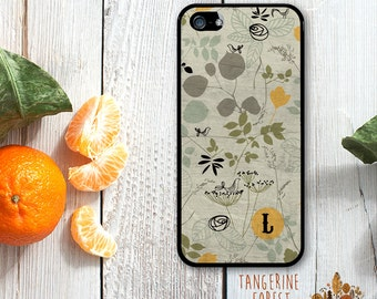 Green, Yellow & Black Wild Flower Pattern. Customize With Your Initial. Available for iPhone 4/4s, 5/5s, 5c, 6/6s or 6+/6s+