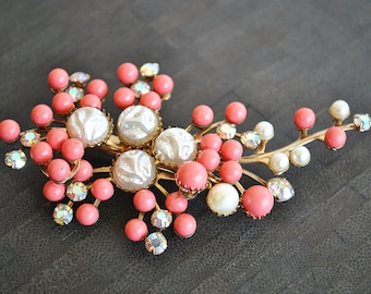 VINTAGE PEARL and faux CORAL brooch
