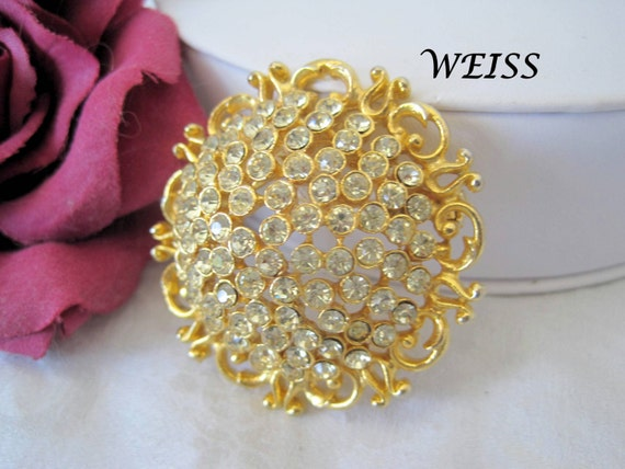 Weiss Rhinestone Brooch - Vintage Yellow Pin  - Round Dome Shaped - 60's Pin