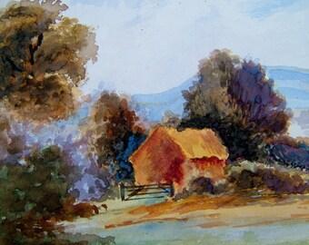 1960s Vintage Art OOAK Painting Vintage Watercolor Painting Vintage Landscape Painting Vintage Woodland Painting Vintage Rural Painting