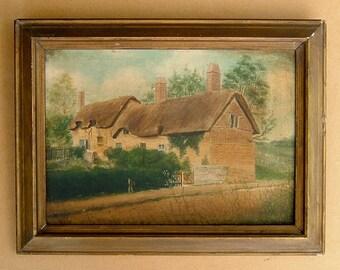 1950s Oil Painting of a Cottage Fine Art Original Art Landscape Wall Hanging Home Decor