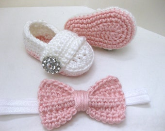 Baby Girl, Baby Shoes, Headband, Hair Bow, Flower Headband, SET, Pink, White, Newborn, Newborn Photos, Photo Prop, Crochet