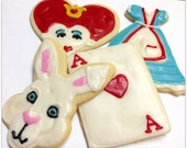 Alice In Wonderland Sugar Cookie Iced Decorated Sugar Cookie White Rabbit Queen Hearts