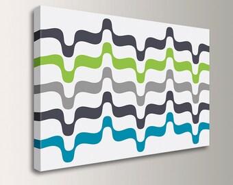 "Mid Century Canvas Art - Retro Canvas Print - Grey Lime Aqua - Oversized Loft Art - Modern Wall Decor - "" Undulation"""
