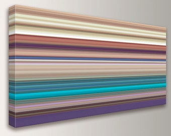 "Panoramic Canvas Artwork - Line Art - Stripes - Multi Colored Lines in Violet, Turquoise, and Tans - Contemporary Wall Decor  - ""Taos"""