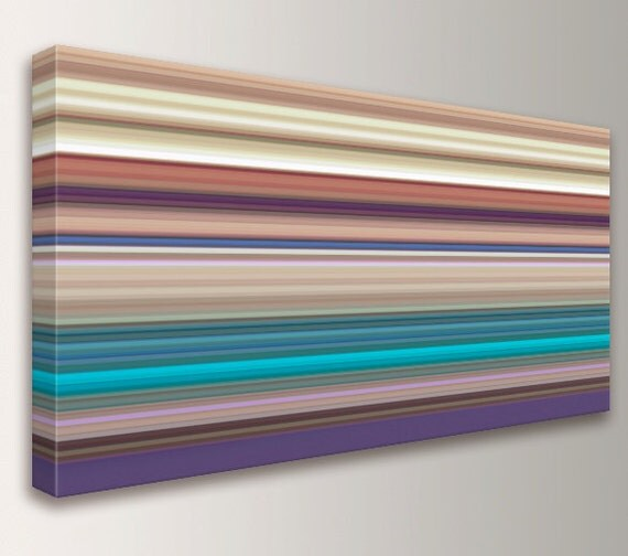 """Panoramic Canvas Artwork - Line Art - Stripes - Multi Colored Lines in Violet, Turquoise, and Tans - Contemporary Wall Decor  - """"Taos"""""""