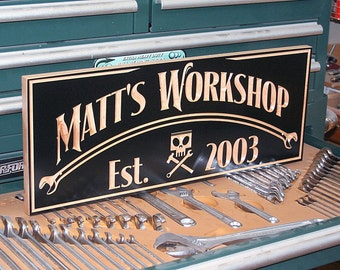 Custom Sign, Guy Gift, Motorcycle Sign, Man Cave Sign, Carved Wood Sign, Biker Sign, Personalized Sign, Benchmark Signs Maple CH