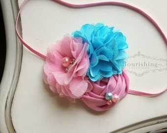 Cotton Candy Inspired Pink headband, pink and blue headbands, newborn headbands, pink headbands, photography prop