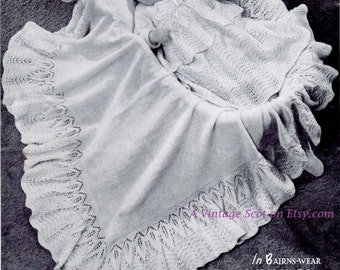 Baby Layette and  Shawl designed for 2 ply yarn 18 ins - Bairnswear 1346 -  PDF of Vintage Knitting Patterns - Instant Download