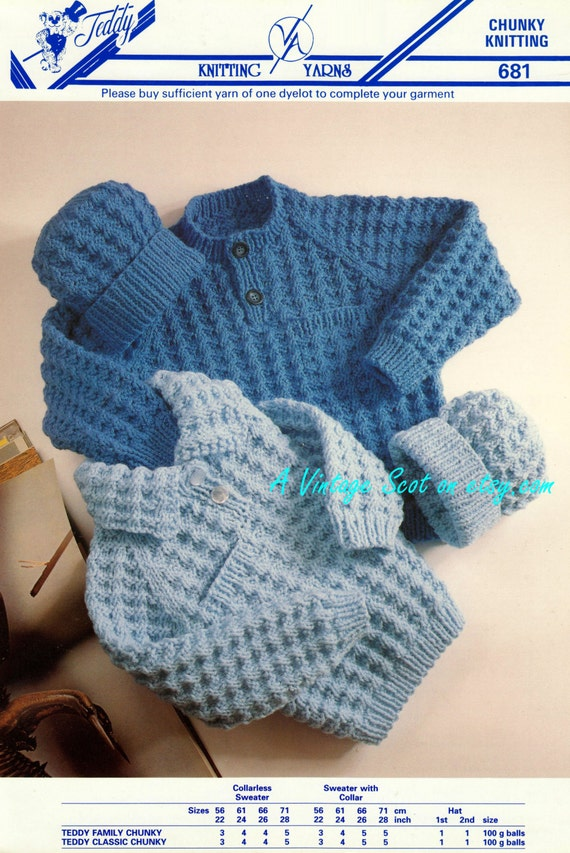 Knitting Pattern Baby Sweater Chunky Yarn : Toddler / Childs Chunky Bulky Sweater / Jumper & Hat 2