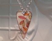 Leaf Watercolor under resin Pendant original art watercolor pendant Christmas Birthday Gift Statement Necklaces