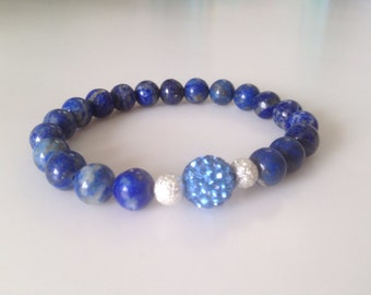 Lapis with Swarovski crystal bead silver-plated stardust