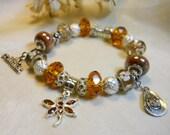 Amber Dragonfly Bracelet,  European Style Rodeo Cowgirl, Southwestern Themed Cowgirl Bracelet, Ladies Bracelet