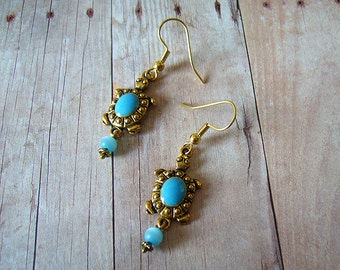 The Turtle Moves Gold Charm Earrings